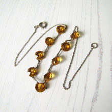 Load image into Gallery viewer, Art Deco Citrine Necklace, Sterling Silver Czech Glass Crystal Necklace. - MercyMadge