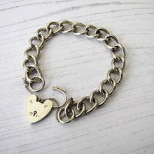 Load image into Gallery viewer, Victorian Silver Curb Chain Bracelet, Heart Padlock Clasp - MercyMadge
