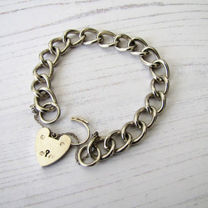 Victorian Silver Curb Chain Bracelet, Heart Padlock Clasp - MercyMadge