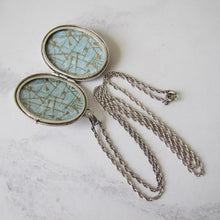 Load image into Gallery viewer, Vintage Victorian Revival English Silver Locket & Rope Chain