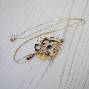 Art Nouveau 9ct Gold and Amethyst Pendant Necklace