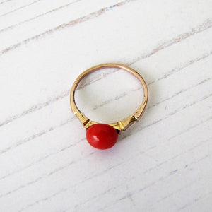 Antique 14ct Gold Red Coral Ring - MercyMadge