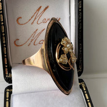 Load image into Gallery viewer, Victorian 9ct Gold, Pearl and Whitby Jet Forget-me-Not Ring