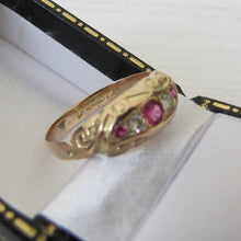 Load image into Gallery viewer, Antique Edwardian 9ct Gold, 5 Stone Diamond & Ruby Ring, Chester 1909 - MercyMadge