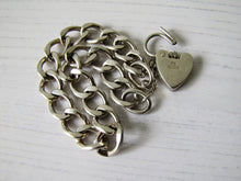 Load image into Gallery viewer, Victorian Style Silver Curb Chain Bracelet, Heart Padlock Clasp - MercyMadge