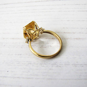 9ct Gold Emerald Cut Bi-Color Citrine Ring. - MercyMadge