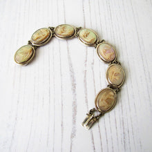 Load image into Gallery viewer, Victorian Carved Mother Of Pearl Silver Bracelet. - MercyMadge