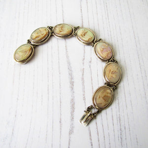 Victorian Carved Mother Of Pearl Silver Bracelet. - MercyMadge