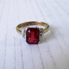 Load image into Gallery viewer, Antique Art Deco 9ct Gold Emerald Cut Ruby Ring