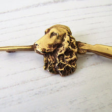 Load image into Gallery viewer, Gold Victorian Dog Cravat/Tie Pin, Flushing Spaniel - MercyMadge