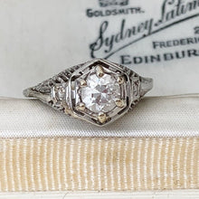Load image into Gallery viewer, Antique 14ct White Gold Diamond Filigree Ring - MercyMadge