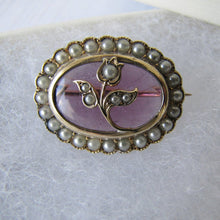Load image into Gallery viewer, Antique 9ct Gold, Amethyst & Seed Pearl Tulip Brooch - Mercy Madge