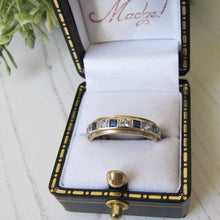 Load image into Gallery viewer, Vintage 9ct Gold, Sapphire & CZ Diamond Eternity Ring