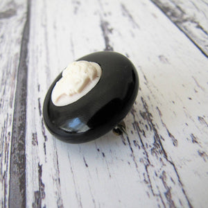 Antique Whitby Jet & Coral Cameo Brooch - MercyMadge