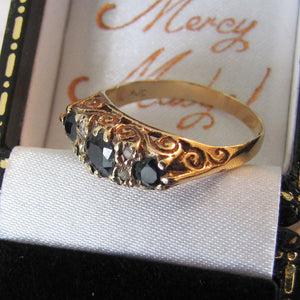 Vintage 9ct Gold Edwardian Revival Sapphire & Diamond Boat Ring
