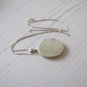 Vintage Edwardian Style English Sterling Silver Locket & Chain