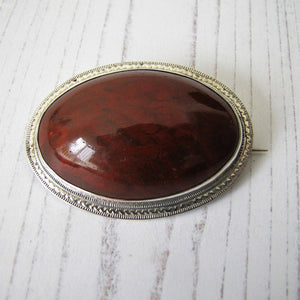 "Victorian Scottish Silver Agate Brooch With Engraved Initials ""JMP"". - MercyMadge"