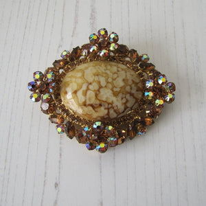 Huge Vintage 1960s Juliana D&E Italian Art Glass & Crystal Brooch - MercyMadge