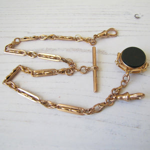 Victorian 9ct Gold Albertina Watch Chain With Spinner Fob.