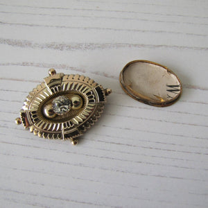 Antique Georgian/Victorian Gold Gilt & Paste Diamond Target Brooch - MercyMadge
