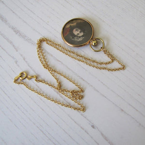 Antique Edwardian Rolled Gold Photo Locket Necklace With Portraits