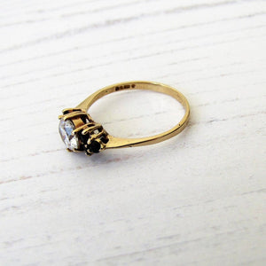 Vintage 9ct Gold Sapphire & CZ Diamond Ring, London 1981. - MercyMadge