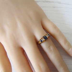 Victorian 18ct Gold, Diamond & Sapphire Ring - MercyMadge