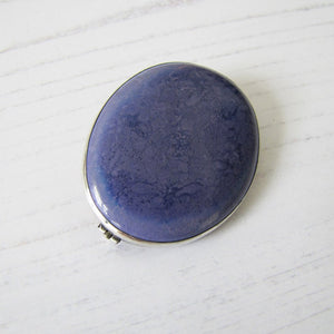 Silver Antique Arts & Crafts Blue Pottery Brooch, Signed Ruskin - MercyMadge