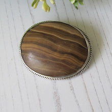Load image into Gallery viewer, Victorian Scottish Banded Agate Silver Brooch