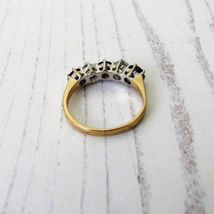 Edwardian Revival 14ct Gold CZ Diamond & Sapphire Eternity Ring - MercyMadge