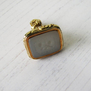 Georgian 15ct Gold Memento Mori Moonstone Fob - Mercy Madge