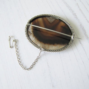 Antique Victorian Scottish Agate Sterling Silver Brooch