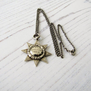 "1920s Art Deco ""June Queen"" Star Pendant Fob With Chain - MercyMadge"