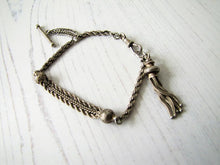 Load image into Gallery viewer, Antique Silver Albertina Bracelet with Tassel Charm, T-Bar & Dog Clip - MercyMadge