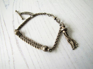 Antique Silver Albertina Bracelet with Tassel Charm, T-Bar & Dog Clip - MercyMadge