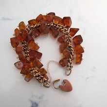 Load image into Gallery viewer, Victorian 9ct Rose Gold Amber Charm Bracelet With Heart Padlock Clasp - MercyMadge