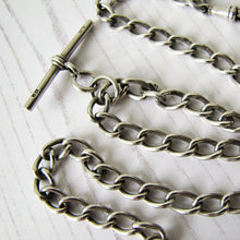 Load image into Gallery viewer, Victorian Double Albert Silver Pocket Watch Chain With Sliding T Bar, 1864 - MercyMadge