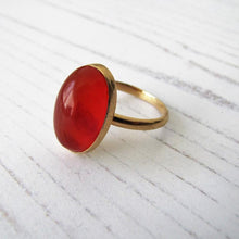 Load image into Gallery viewer, Art Deco 18ct Gold Carnelian Bezel Ring - MercyMadge