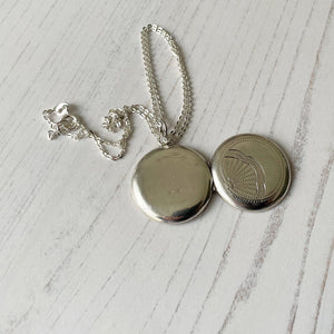 Vintage Engraved Silver Fan Locket