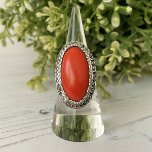Art Deco Silver Marcasite & Red Coral Ring