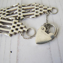 Load image into Gallery viewer, Vintage Silver Gate Bracelet With Heart Padlock, London 1979