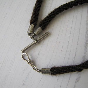 Victorian Silver & Hair Albert Watch Chain