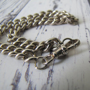 Vintage Sterling Silver Watch Chain Bracelet With Swivel Albert Clip - MercyMadge