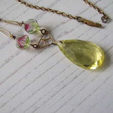 Load image into Gallery viewer, Art Deco Iris Glass Lavalier Pendant Necklace - MercyMadge