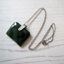 Load image into Gallery viewer, Victorian Carved Malachite & Silver Book Pendant Fob
