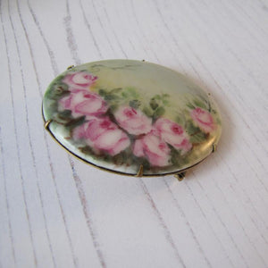 Antique Edwardian Porcelain Hand Painted English Rose Brooch.