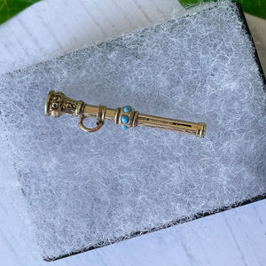 Victorian 15ct Gold & Turquoise Pencil Pendant