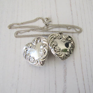 Vintage Sterling Silver Engraved Puffy Heart Locket