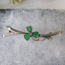 Load image into Gallery viewer, Antique Silver & Green Enamel Shamrock Pin