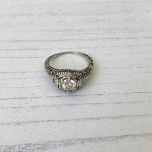 Antique 14ct White Gold Diamond Filigree Ring - MercyMadge